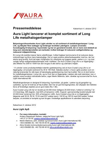Aura Light lancerer et komplet sortiment af Long Life ...