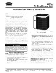 38TRA Air Conditioning Unit Installation and Start-Up ... - Carrier