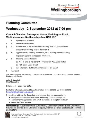 Planning Committee 12 September 2012 - Wellingborough Borough ...