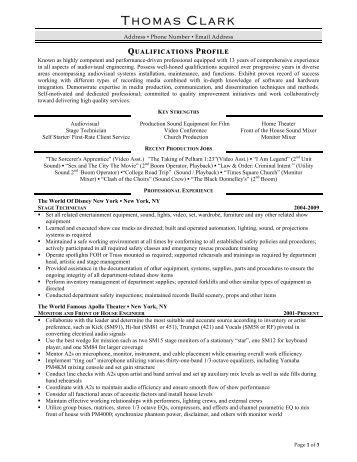 stage technician resume prime