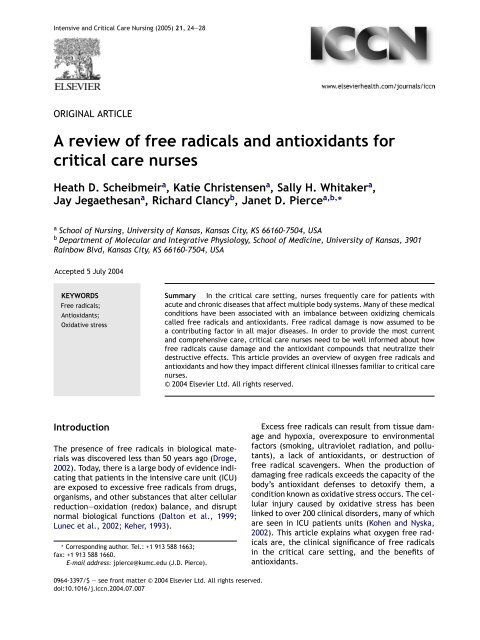 A review of free radicals and antioxidants for critical ... - ferronfred.eu