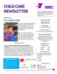 CHILD CARE NEWSLETTER - YMCA of Greater Charlotte