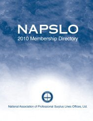 Table of ConTenTs 2010 MEMBERSHIP DIRECTORY ... - NAPSLO
