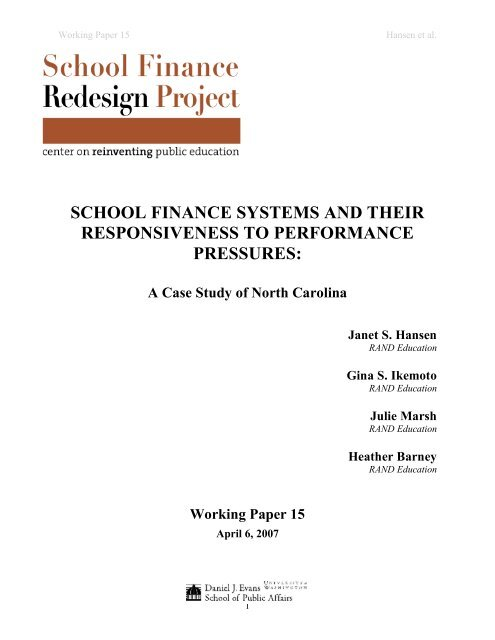 school finance systems and their responsiveness to performance ...