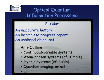 Optical Quantum Information Processing