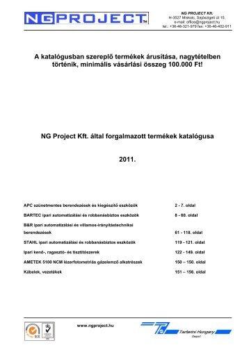 A katalógusban szereplő termékek árusítása ... - NG Project Kft.