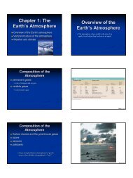 Chapter 1: The Earth's Atmosphere Overview of the Earth's ...