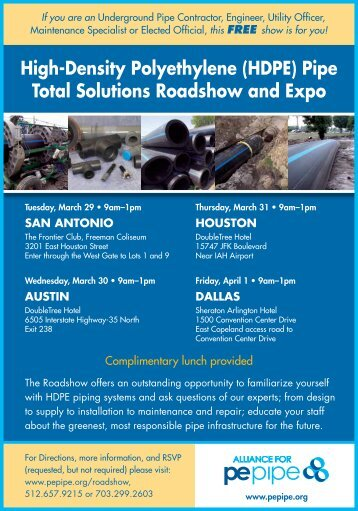 High-Density Polyethylene (HDPE) Pipe Total Solutions Roadshow ...
