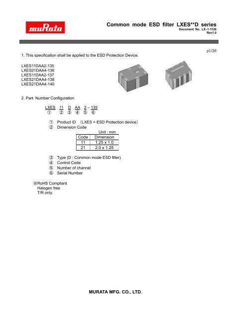 Common mode ESD filter LXES**D series - Murata