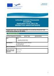 Grundtvig Application Form 2012 for GRUNDTVIG ASSISTANTSHIPS
