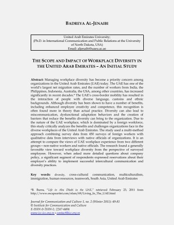 The Scope and Impact of Workplace Diversity in - Journal for ...