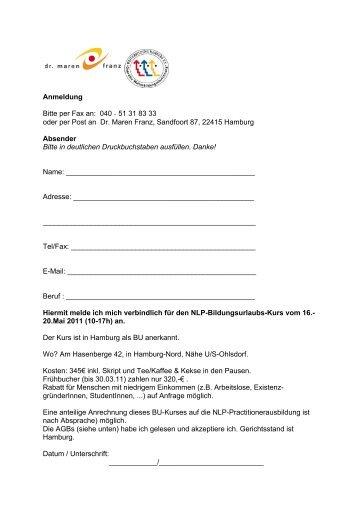 NLP-BU-Anmeldung 11_AGB - NLP in Hamburg :: Dr. Maren Franz