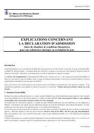 EXPLICATIONS CONCERNANT LA DECLARATION D'ADMISSION ...