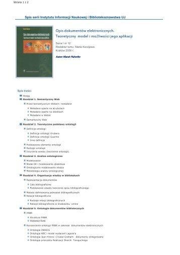 Opis dokumentów elektronicznych. Teoretyczny model i możliwości ...