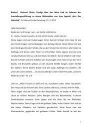 Bischof Gerhard Ulrich, Predigt über das Hohe Lied ... - Uwe Appold