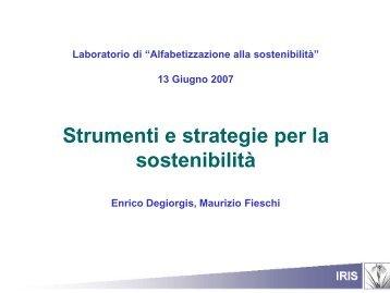 Strumenti e strategie per la sostenibilità - IRIS - Istituto di Ricerche ...
