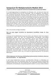 Symposium für Biokybernetische Medizin 2013 - CAM-Expo