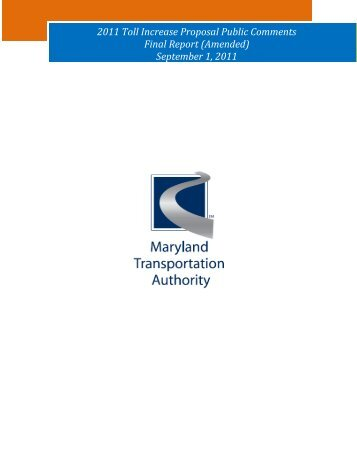 Public Comment Summary Final Report - MdTA - Maryland.gov