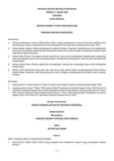 Undang Undang Republik Indonesia Nomor 11 Tahun 1992