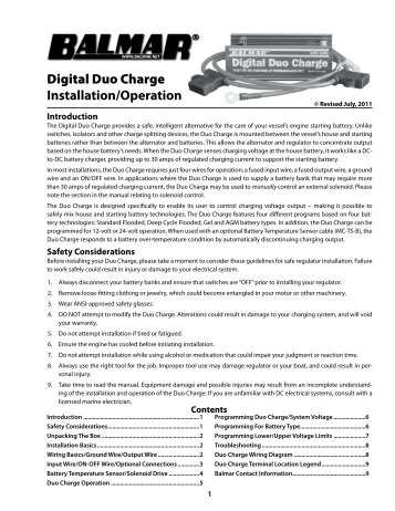 Digital Duo Charge Installation/Operation - Balmar