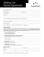 Mailing List Rental Agreement - AcademyHealth