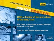ID301 A Preview of the next release of the Notes ... - Lotus Sandbox