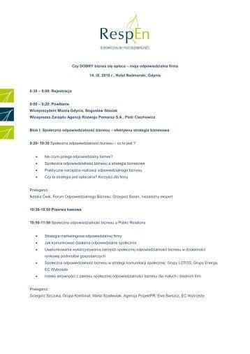 Program zorganizowanej konferencji - Agencja Rozwoju Pomorza SA