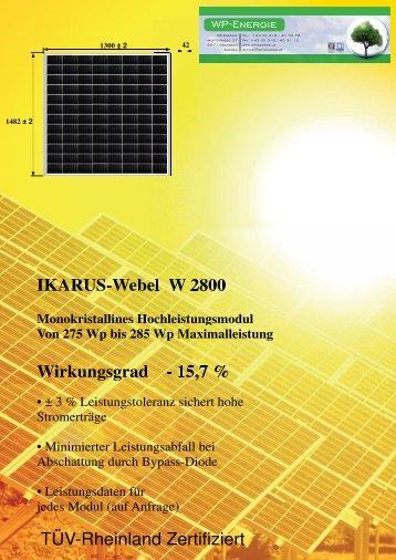 IKARUS-Webel W 2800 Wirkungsgrad - 15,7 % TÜV ... - WP - Energie