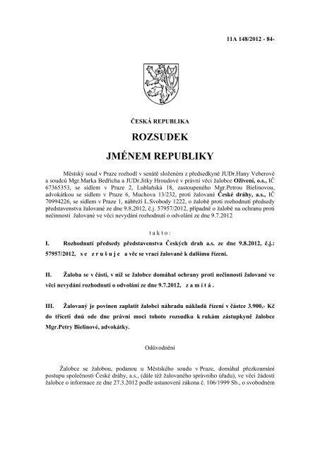 rozsudku Městského soudu v Praze z dubna 2013 - Bezkorupce