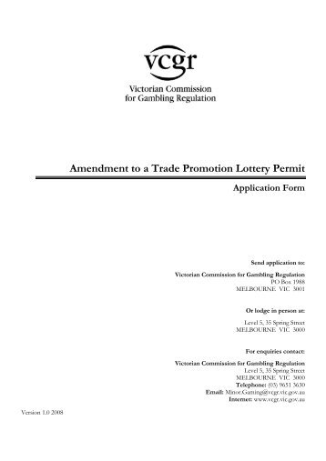 Amendment to a Trade Promotion Lottery Permit Application Form