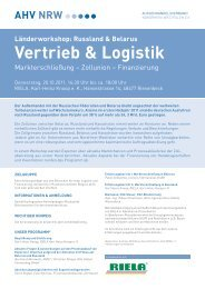Länderworkshop: Russland & Belarus Vertrieb & Logistik - Riela