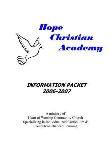 information packet - Hope Christian Academy On-line - Home