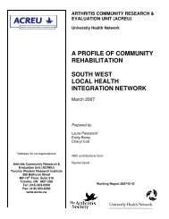 South west local health integration network - Arthritis Community ...