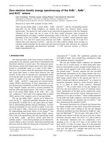Zero electron kinetic energy spectroscopy of the KrBr , XeBr , and ...