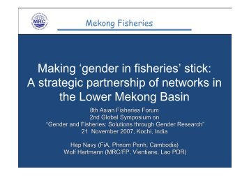 Making 'gender in fisheries' stick: A strategic partnership of networks ...