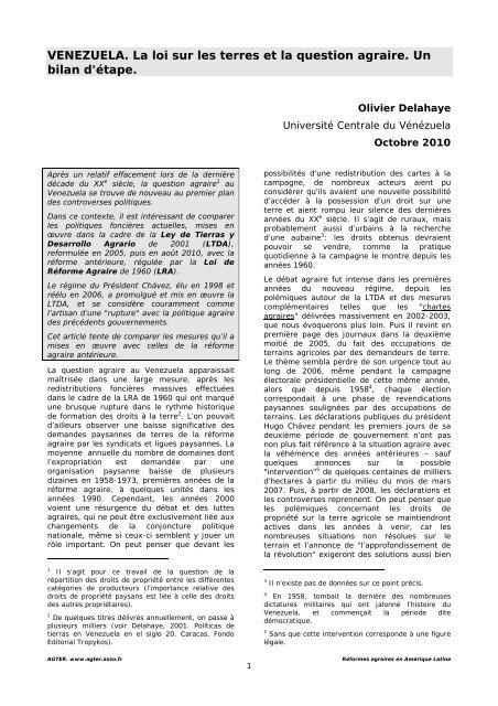 VENEZUELA. La loi sur les terres et la question agraire. Un ... - aGter