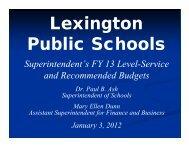 Superintendent Budget Presentation - Lexington Public Schools