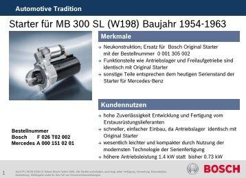 Starter für MB 300 SL (W198) Baujahr 1954-1963 - Bosch ...
