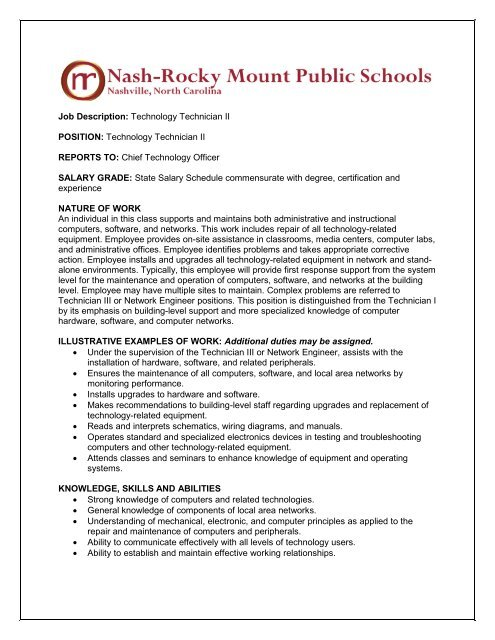 Job Description: Technology Technician II POSITION