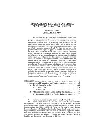 transnational litigation and global securities class-action lawsuits