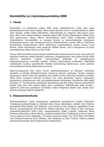 Kemistikilta ry:n toimintasuunnitelma 2008