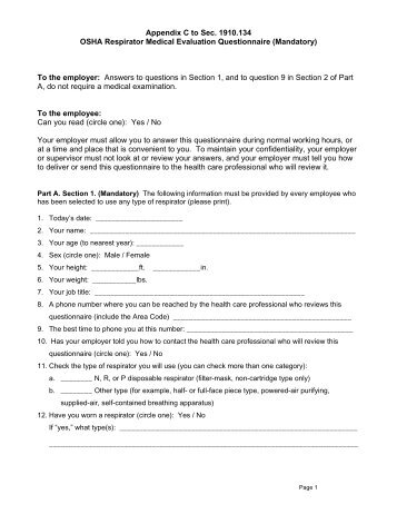 Medical Evaluation Questionnaire For Respirator Wearers