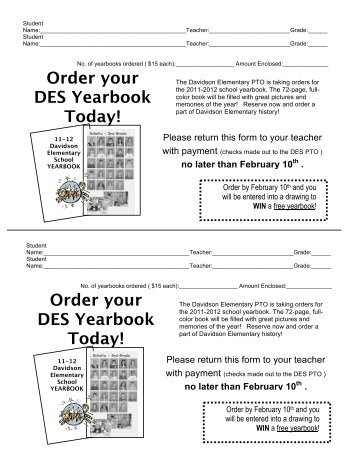 Yearbook Order Confirmation  Tomoka Elementary Pta