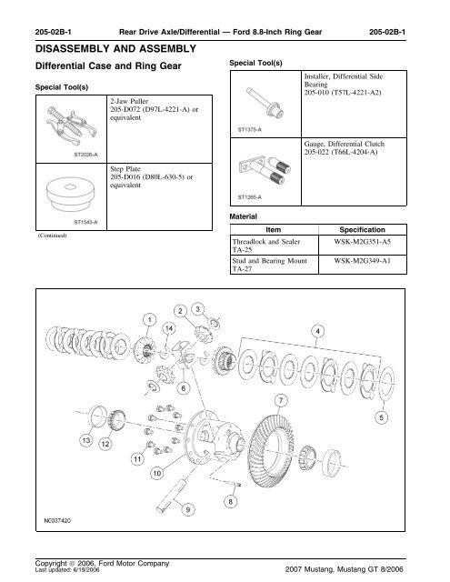 Disassembly and assembly pdf - Ford Mustang