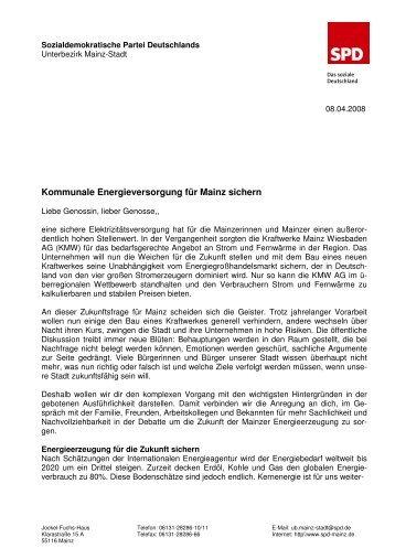 Fu_Brief 08.02.2008 Kommunale Energieversorgung - SPD Mainz