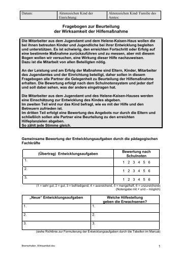 Fragebogen zur Beurteilung der Wirksamkeit einer Hilfemaßnahme ...