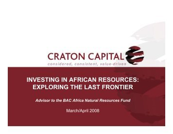 investing in african resources: exploring the last frontier - Bacfund.ch