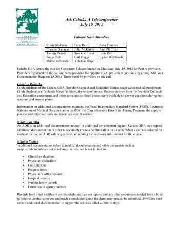 Ask Cahaba A Teleconference July 19, 2012 - Cahaba GBA