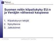 Suomen reitin kilpailukyky EU:n ja Venäjän välisessä kaupassa