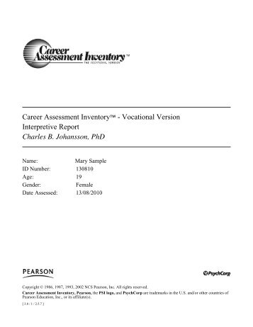 Career Assessment Inventory  Vocational Version    Pearson